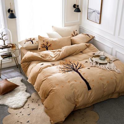 G+家纺 棉花绒毛巾绣四件套 1.5m(5英尺)床 一叶知秋 黄色