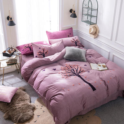 G+家纺 棉花绒毛巾绣四件套 1.5m(5英尺)床 一叶知秋 酱紫