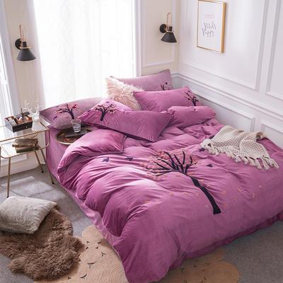G+家纺 棉花绒毛巾绣四件套 1.5m(5英尺)床 一叶知秋 玫红