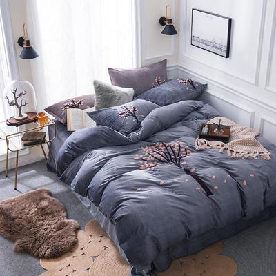 G+家纺 棉花绒毛巾绣四件套 1.5m(5英尺)床 一叶知秋 深灰
