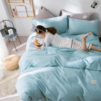 G+家纺 全棉暖绒四件套 1.8m(6英尺)床 律感 蓝色