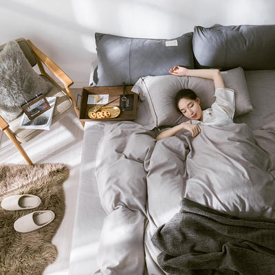 G+家纺 全棉暖绒四件套 1.8m(6英尺)床 律感 浅灰