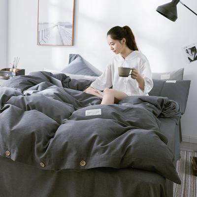 G+家纺 全棉暖绒四件套 1.8m(6英尺)床 律感 深灰