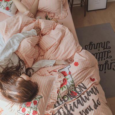 G+家纺 水洗棉刺绣花边工艺款四件套 1.5m(5英尺)床 玫瑰乐园 玉