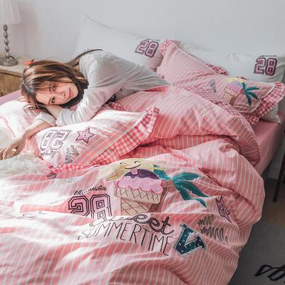 G+家纺 水洗棉刺绣花边工艺款四件套 1.5m(5英尺)床 甜蜜夏日 豆沙