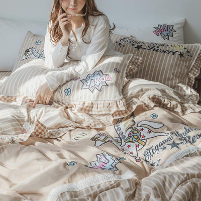 G+家纺 水洗棉刺绣花边工艺款四件套 1.5m(5英尺)床 以梦为马 卡其