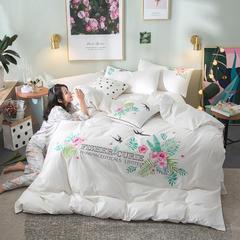 G+家纺 水洗棉纯色刺绣四件套 1.5m(5英尺)床 春燕 本白