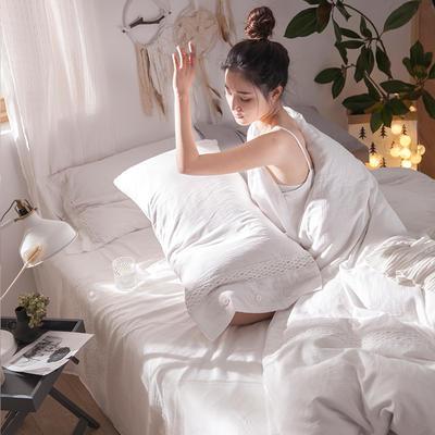 G+家纺 全棉双层纱民宿风四件套 1.8m(6英尺)床 捕梦 白色