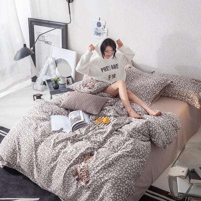 G+家纺 全棉双层纱刺绣四件套 1.5m(5英尺)床 豹纹