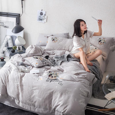 G+家纺 全棉双层纱刺绣四件套 1.8m(6英尺)床 法斗