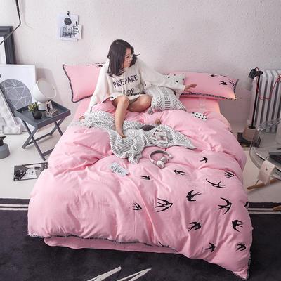 G+家纺 全棉双层纱刺绣四件套 1.8m(6英尺)床 飞燕 粉色