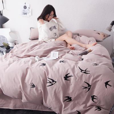 G+家纺 全棉双层纱刺绣四件套 1.5m(5英尺)床 飞燕 咖啡