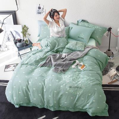 G+家纺 全棉双层纱刺绣四件套 1.8m(6英尺)床 皇冠 浅绿