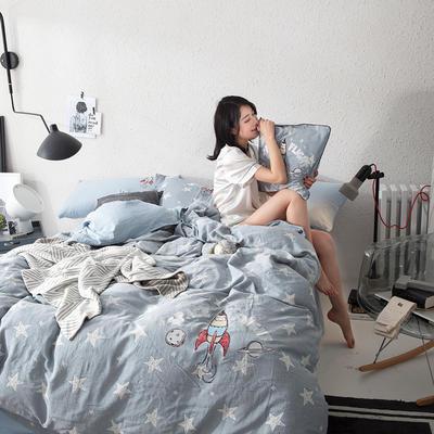 G+家纺 全棉双层纱刺绣四件套 1.5m(5英尺)床 火箭