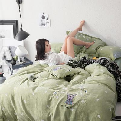 G+家纺 全棉双层纱刺绣四件套 1.8m(6英尺)床 小雏菊 草绿