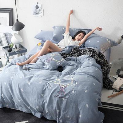 G+家纺 全棉双层纱刺绣四件套 1.8m(6英尺)床 小雏菊 蓝灰