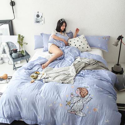 G+家纺 全棉双层纱刺绣四件套 1.5m(5英尺)床 小天使 淡蓝