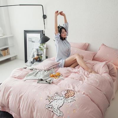 G+家纺 全棉双层纱刺绣四件套 1.8m(6英尺)床 小天使 玉色