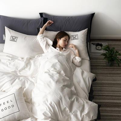G+家纺 水洗棉纯色宽边四件套 1.5m(5英尺)床 素默 本白