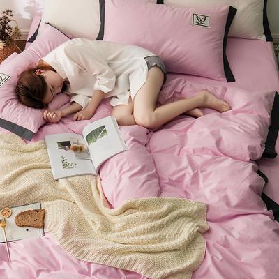 G+家纺 水洗棉纯色宽边四件套 1.5m(5英尺)床 素默 粉色