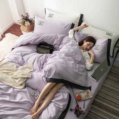 G+家纺 水洗棉纯色宽边四件套 1.5m(5英尺)床 素默 浅紫