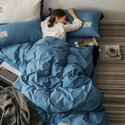 G+家纺 水洗棉纯色宽边四件套 1.5m(5英尺)床 素默 深蓝