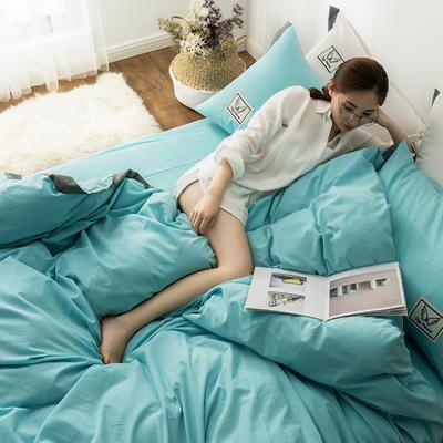 G+家纺 水洗棉纯色宽边四件套 1.5m(5英尺)床 素默 水蓝