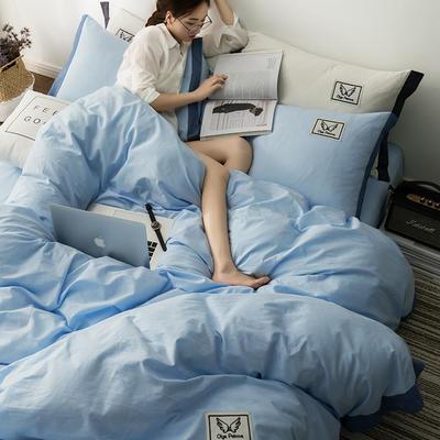 G+家纺 水洗棉纯色宽边四件套 1.5m(5英尺)床 素默 天蓝
