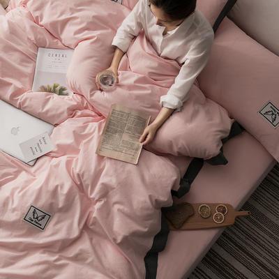 G+家纺 水洗棉纯色宽边四件套 1.5m(5英尺)床 素默 玉色