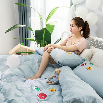 G+家纺 天丝棉提加绣四件套 1.8m(6英尺)床 布朗尼 浅蓝
