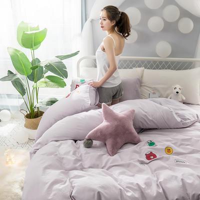 G+家纺 天丝棉提加绣四件套 1.8m(6英尺)床 布朗尼 浅紫