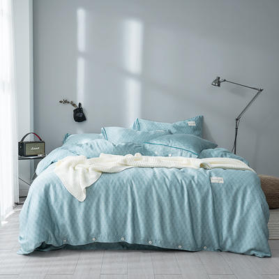 G+家纺 奥地利兰精天丝四件套 1.8m(6英尺)床 海松 蓝色