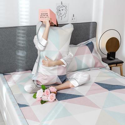 G+家纺冰丝席印花三件套 床笠款150X200cm 几何
