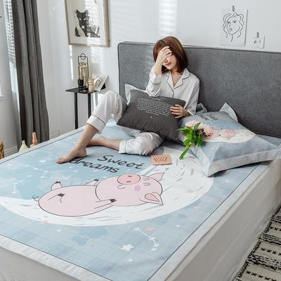 G+家纺冰丝席印花三件套 床笠款150X200cm 月亮猪