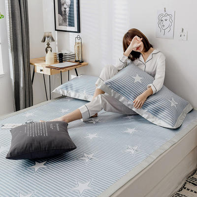 G+家纺 冰丝席提花三件套 150X200cm 满天星