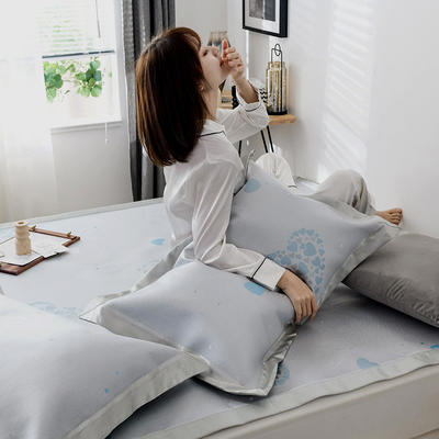 G+家纺 冰丝席提花三件套 150X200cm 甜心 蓝