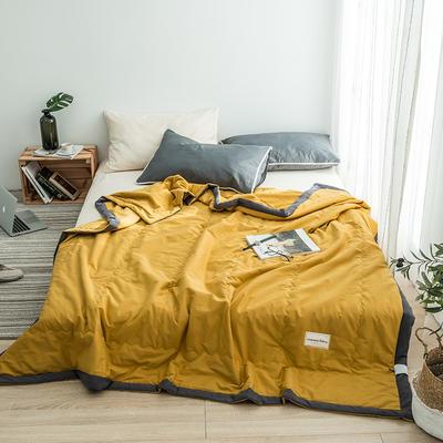 G+家纺 全棉水洗棉纯色宽边夏被 150x200cm 留夏 铭黄