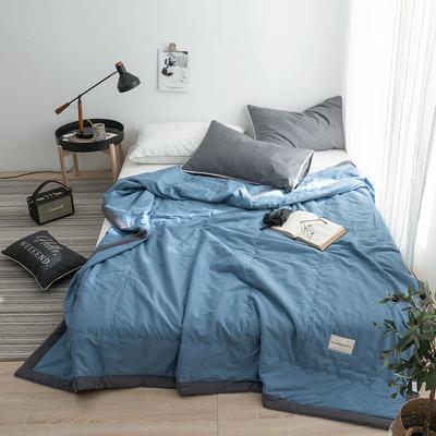 G+家纺 全棉水洗棉纯色宽边夏被 150x200cm 留夏 深蓝