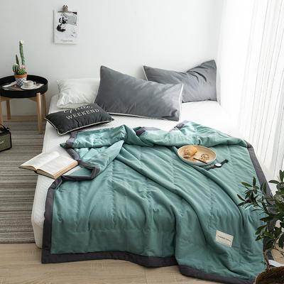 G+家纺 全棉水洗棉纯色宽边夏被 150x200cm 留夏 水绿
