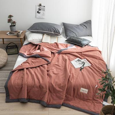G+家纺 全棉水洗棉纯色宽边夏被 150x200cm 留夏 砖红