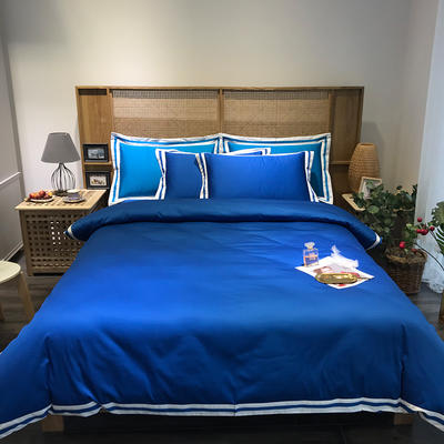 G+家纺 工艺款60S长绒棉四件套(实拍图) 1.5m(5英尺)床 绀蓝