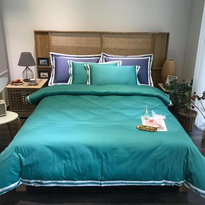 G+家纺 工艺款60S长绒棉四件套(实拍图) 1.5m(5英尺)床 石青