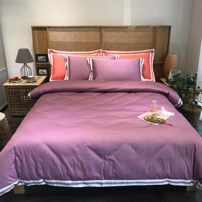 G+家纺 工艺款60S长绒棉四件套(实拍图) 1.5m(5英尺)床 水红