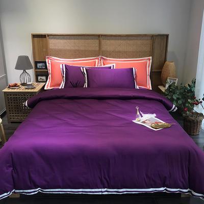 G+家纺 工艺款60S长绒棉四件套(实拍图) 1.5m(5英尺)床 紫棠