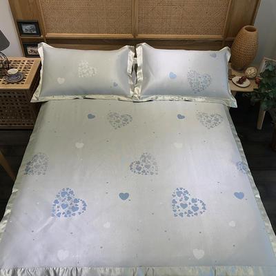 G+家纺 冰丝席提花三件套 实拍图 150X200cm 甜心蓝