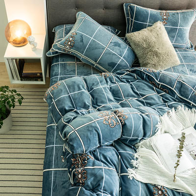 G+家纺 速暖绒印花四件套 1.5m(5英尺)床 奥玎