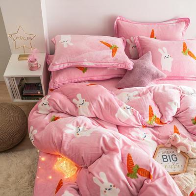 G+家纺 速暖绒印花四件套 1.5m(5英尺)床 大耳兔