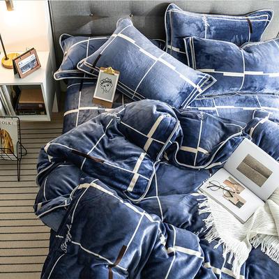 G+家纺 速暖绒印花四件套 1.8m(6英尺)床 梵赛