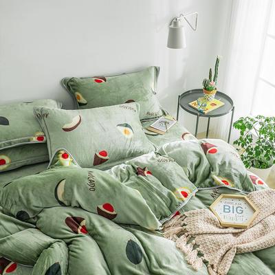 G+家纺 速暖绒印花四件套 1.5m(5英尺)床 牛油果