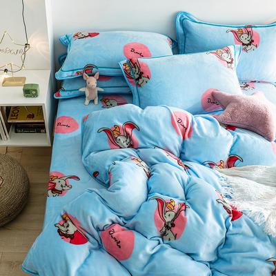 G+家纺 速暖绒印花四件套 1.8m(6英尺)床 小飞象